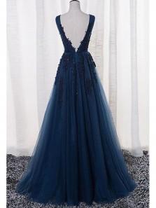 Charming A Line V Neck Open Back Navy Lace Long Prom Dresses, Elegant Evening Party Dresses PD1102012