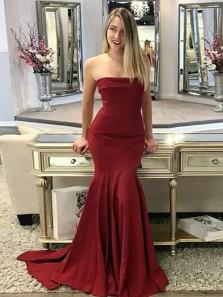Charming Mermaid Strapless Lapel Neck Burgundy Long Prom Dresses, Elegant Evening Party Dresses