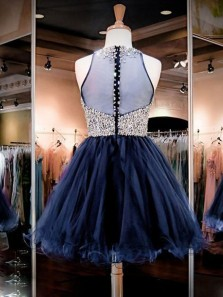 Cute A Line Round Neck Navy Beading Short Homecoming Dresses, Short Prom Dresses