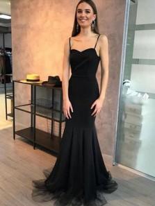 Charming Mermaid Spaghetti Straps Black Tulle Elegant Prom Dresses, Elegant and Simple Evening Dresses