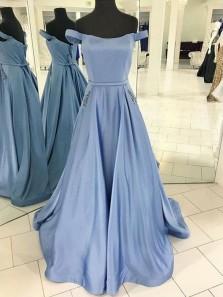 Vintage Ball Gown Off the Shoulder Open Back Blue Satin Long Prom Dresses with Pockets, Elegant Evening Dresses