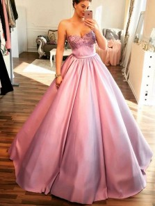 Charming Ball Gown Sweetheart Open Back Lavender Long Prom Dresses with Appliques, Formal Elegant Evening Dresses