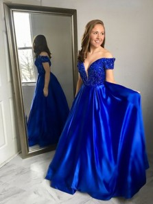 Gorgeous A Line V Neck Off the Shoulder Royal Blue Satin Long Prom Dresses with Beading, Vintage Evening Dresses