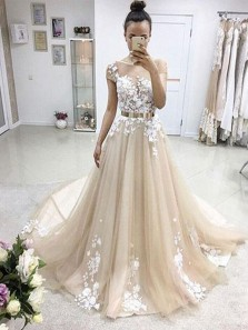 Elegant Ball Gown Scoop Neck Open Back Champagne Lace Long Wedding Dresses, Appliques Wedding Gown