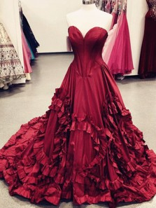 Unique Ball Gown Sweetheart Strapless Burgundy Long Prom Dresses with Train, Gorgeous Evening Dresses