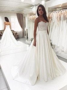 Charming Ball Gown Sweetheart Open Back Ivory Lace Long Wedding Dresses, Pleats Wedding Dresses