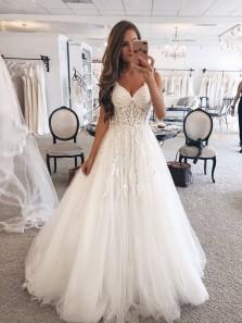 Beautiful Ball Gown V Neck Spaghetti Straps Ivory Lace Wedding Dresses, Elegant Wedding Dresses