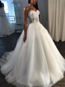Elegant Ball Gown Sweetheart Open Back Flower Ivory Wedding Dresses, Fairy Wedding Gowns