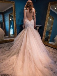 Charming Mermaid Sweetheart Spaghetti Straps Open Back Blush Wedding Dresses, Elegant Wedding Gowns