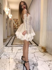 Elegant A Line Sweetheart Open Back Long Sleeves Champagne Lace Short Prom Dresses, Short Homecoming Dresses