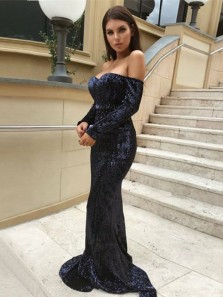Charming Mermaid Sweetheart Open Back Long Sleeves Black Sequins Long Prom Dresses, Sparkly Evening Dresses