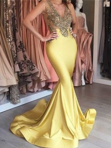 Charming Mermaid V Neck Open Back Yellow Satin Long Prom Dresses with Lace, Formal Elegant Evening Dresses with Beading