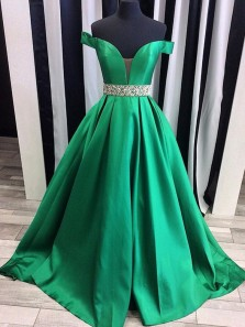 Gorgeous Ball Gown Off the Shoulder V Neck Open Back Satin Green Prom Dresses with Beading, Elegant Evening Party Dresses PD1104004
