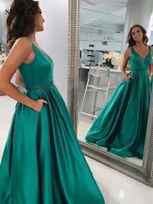 Vintage Ball Gown V Neck Open Back Green Satin Long Prom Dresses with Pockets, Elegant Evening Dresses