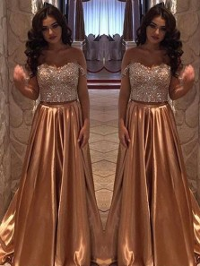 Charming A Line Sweetheart Open Back Brown Lace Long Prom Dresses with Beading, Elegant Evening Dresses