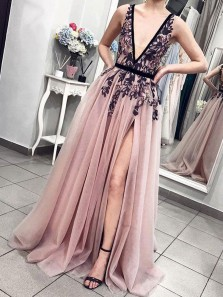 Charming A Line V Neck Open Back Split Blush Pink Long Prom Dresses with Lace, Unique Evening Party Dresses