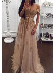 Charming A Line Sweetheart Off the Shoulder Brown Tulle Gold Lace Long Prom Dresses, Elegant Evening Party Dresses