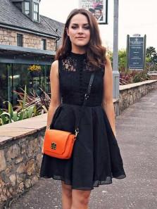 Cute A Line Round Neck Black Lace Short Homecoming Dresses, Little Black Dresses, Short Black Prom Dresses