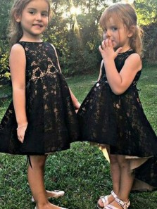 Cute A Line Scoop Open Back Black Lace Flower Girl Dresses, High Low Flower Girl Dresses