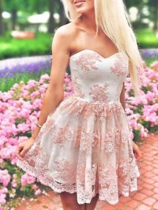 Cute A Line Sweetheart Open Back Pink Lace Short Homecoming Dresses, Short Prom Dresses