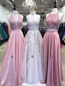 Charming A Line V Neck Pink Lace Long Prom Dresses, Beautiful Evening Dresses PD1108001