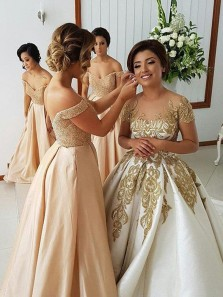 Elegant A Line Off the Shoulder Champagne Lace Long Bridesmaid Dresses with Beading