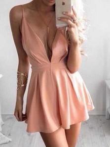 Simple A Line V Neck Open Back Blush Pink Short Homecoming Dresses Under 100, Simple Short Prom Dresses