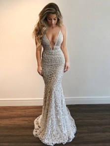 Gorgeous Mermaid V Neck Open Back Ivory Lace Long Prom Dresses, Evening Party Dresses