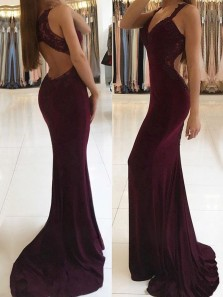 Sexy Mermaid V Neck Open Back Burgundy Lace Long Prom Dresses with Beading, Elegant Evening Party Dresses