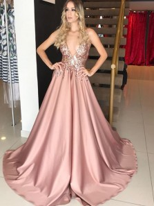 Gorgeous Ball Gown V Neck Spaghetti Straps Blush Sequins Lace Long Prom Dresses, Elegant Evening Dresses