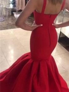 Charming Mermaid Sweetheart Straps Open Back Burgundy Long Prom Dresses, Unique Evening Party Dresses