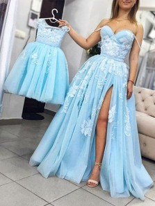 Charming Ball Gown Sweetheart Split Blue Lace Long Prom Dresses, Pretty Evening Dresses, Flower Girl Dresses