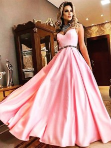 Charming Ball Gown Sweetheart Spaghetti Straps Pink Satin Long Prom Dresses with Beading, Elegant Formal Evening Dresses