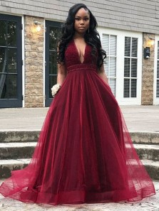 Gorgeous A Line V Neck Open Back Burgundy Long Prom Dresses with Beading, Beautiful Evening Dresses