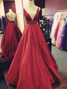 Charming Ball Gown V Neck Backless Burgundy Satin Long Prom Dresses with Beading, Elegant Evening Party Dresses