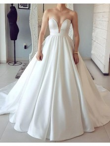 Vintage Ball Gown Sweetheart Backless White Satin Long Wedding Dresses with Train, Elegant Wedding Gowns