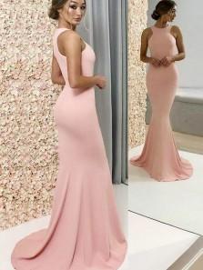 Elegant Mermaid Round Neck Elastic Satin Pink Long Bridesmaid Dresses BD0824004, Simple Prom Dresses
