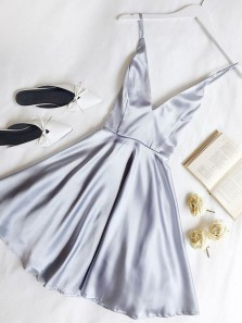 Simple A Line V Neck Backless Light Grey Satin Short Homecoming Dresses with Pockets, Cute Short Prom Dresses Under 100 HD0303001