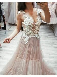Charming A Line V Neck Open Back Blush and White Lace Long Prom Dresses, Elegant Evening Dresses