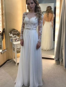 Elegant A Line Scoop Backless Long Sleeves White Lace Long Prom Dresses, Beautiful Evening Dresses, Simple Wedding Dresses