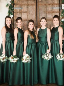 Vintage A Line Round Neck Green Satin Long Bridesmaid Dresses with Pockets, Simple Long Prom Dresses
