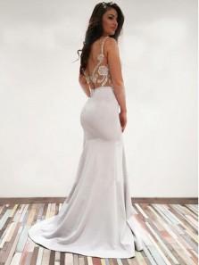 Mermaid V Neck Open Back White Lace Long Wedding Dresses, Elegant Formal Prom Dresses