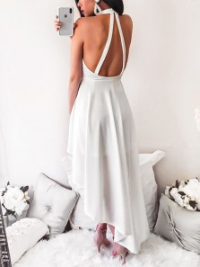 A Line Halter Open Back White High Low Prom Dresses, Simple Evening Party Dresses
