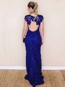 Charming Mermaid V Neck Open Back Royal Blue Lace Long Prom Dresses, Elegant Evening Dresses