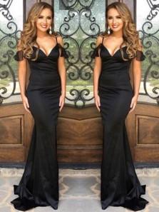 Simple Mermaid V Neck Spaghetti Straps Black Long Prom Dresses, Elegant Evening Dresses Under 100