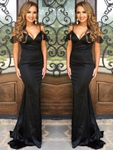 Simple Mermaid V Neck Spaghetti Straps Black Long Prom Dresses, Elegant Evening Dresses Under 100