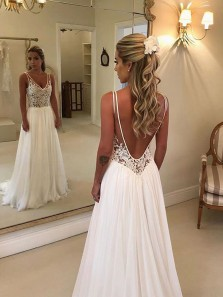 Simple A Line V Neck Open Back White Lace Long Wedding Dresses, Elegant Wedding Gowns WD1115002
