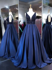 Gorgeous Ball Gown V Neck Open Back Navy Long Prom Dresses with Beading, Elegant Evening Dresses
