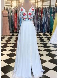 Charming A Line V Neck Cross Back White Chiffon Split Embroidery Long Prom Dresses, Formal Evening Dresses