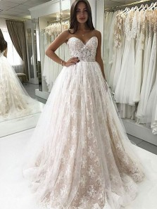 Charming Ball Gown Sweetheart Backless Champagne and White Lace Long Wedding Dresses